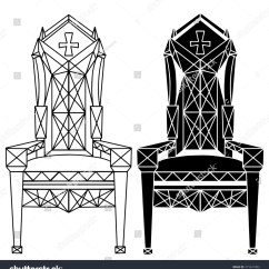 Black Gothic Throne Chair Joey Steel Furniture Hand Drawn Set Vintage Stock Vector