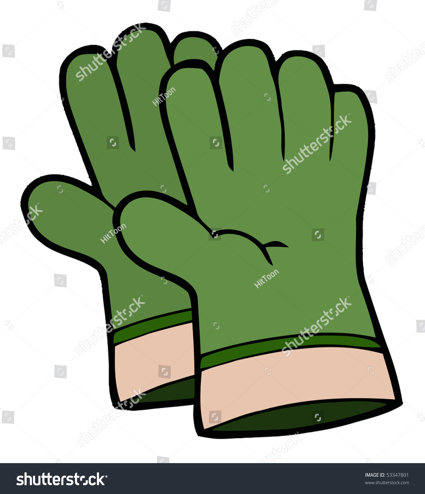 Gardening Toolspair Green Gardening Hand Gloves Stock Vector