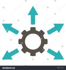 Gear Distribution Vector Icon. Style Bicolor Flat