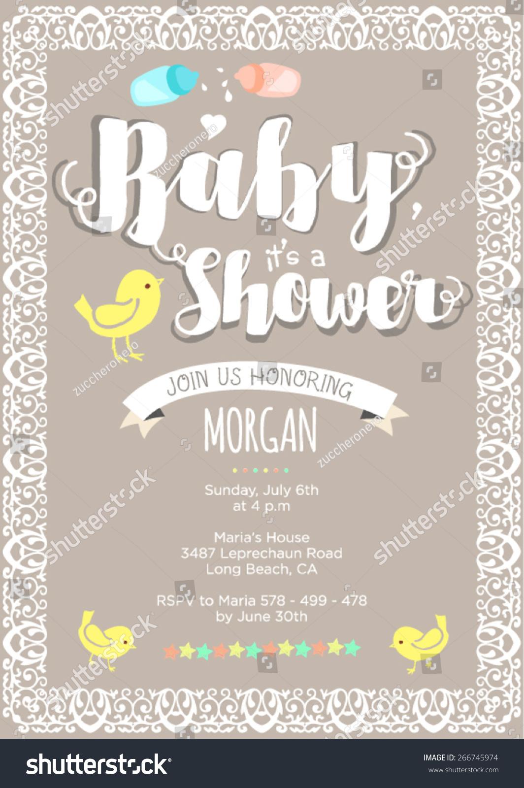 Baby Shower Clip Art Gender Neutral : shower, gender, neutral, Gender, Neutral, Shower, Invitation, Layout, Stock, Vector, (Royalty, Free), 266745974