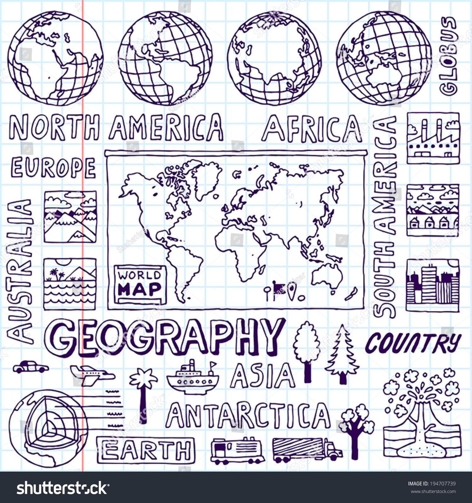 Geography Hand Drawn Vector Illustration School Stock