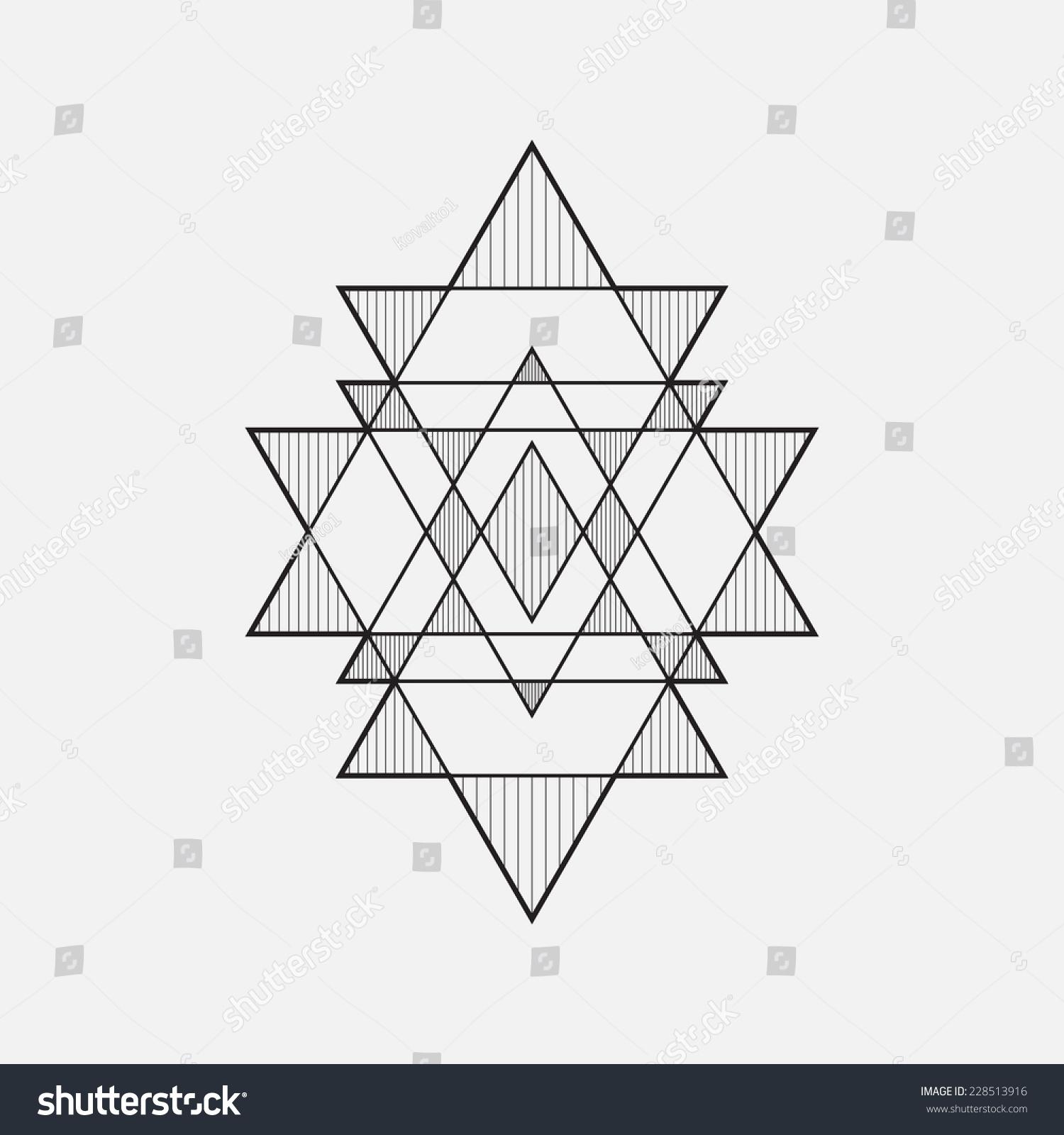 Geometric Shapes Line Design Triangle Stock Vector