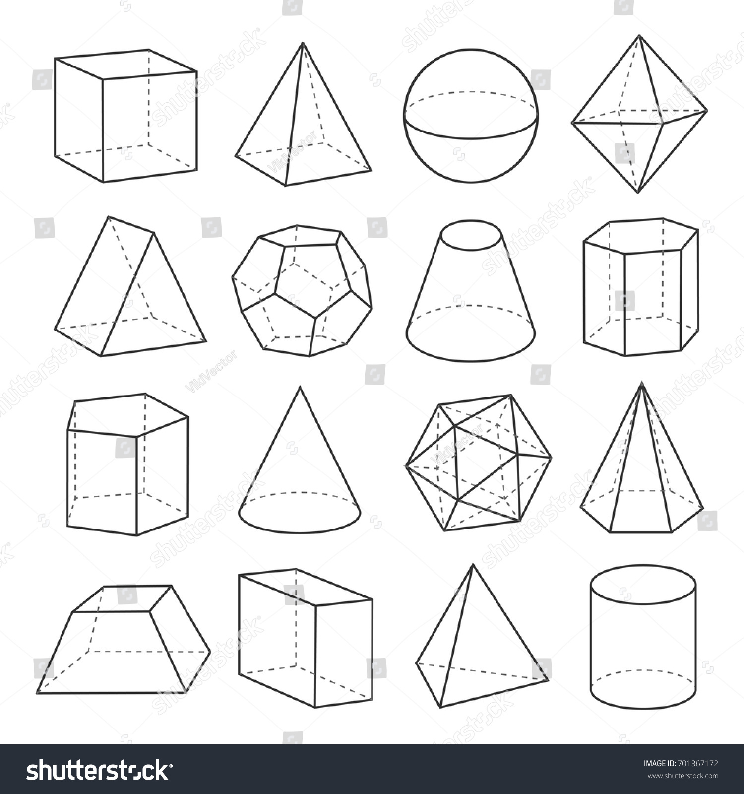 Geometric Shapes Outline Set Mathematical Concept Stock