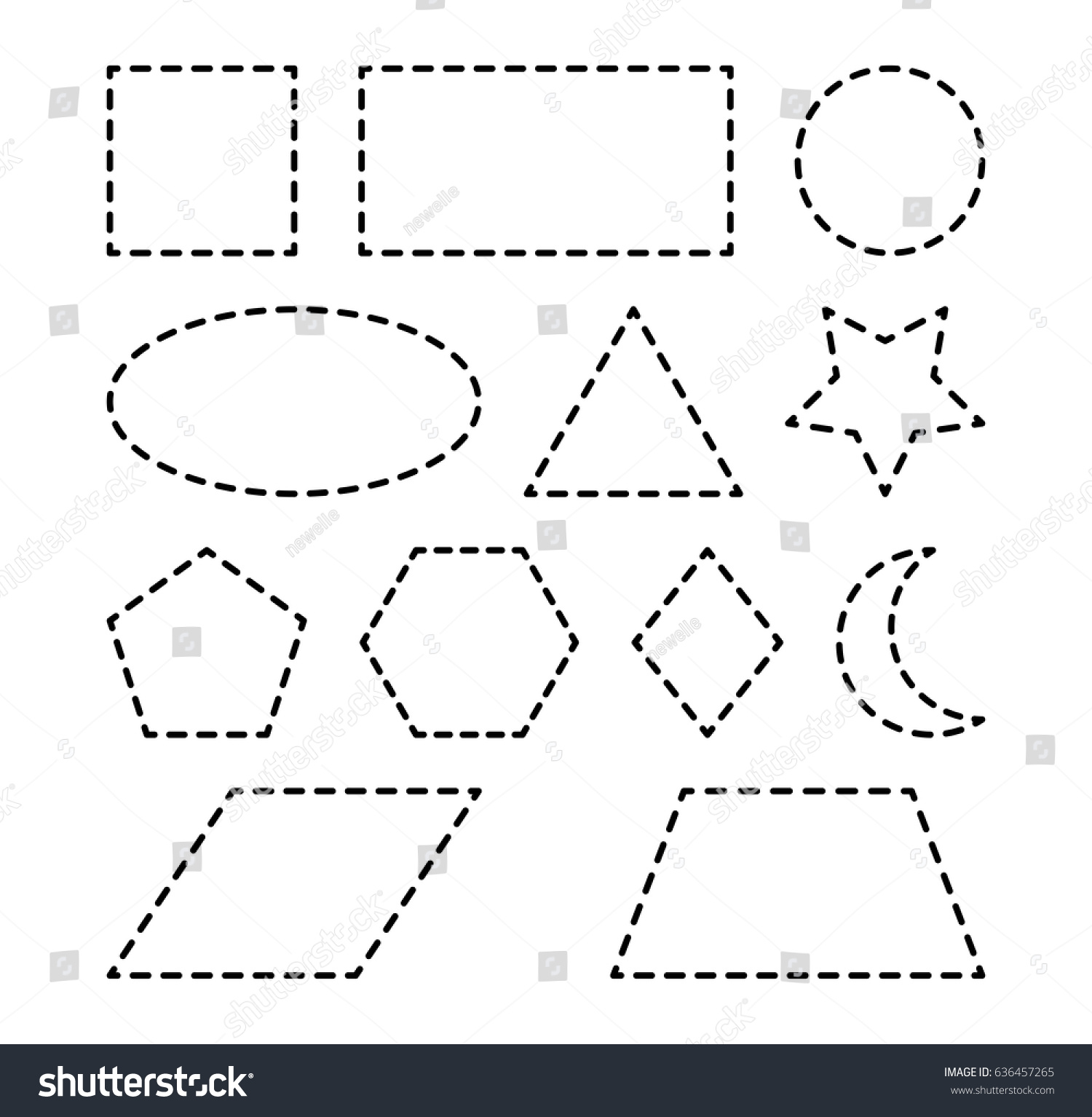 Geometric Shapes Square Circle Oval Triangle Stock Vector
