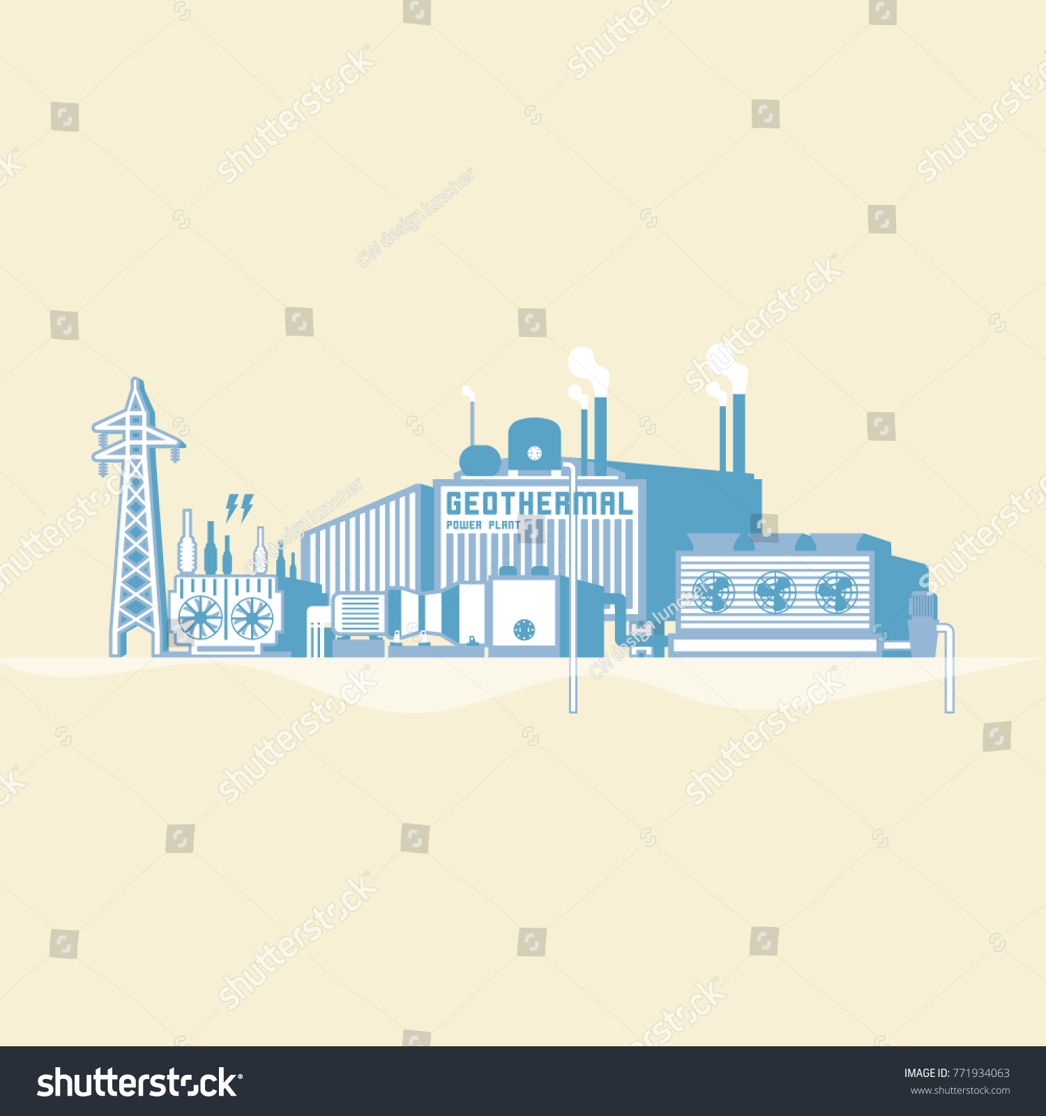 hight resolution of geothermal energy geothermal power plant with boiler and seam turbine generate the electric in simple