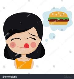 girl hungry wants hamburger [ 1500 x 1600 Pixel ]