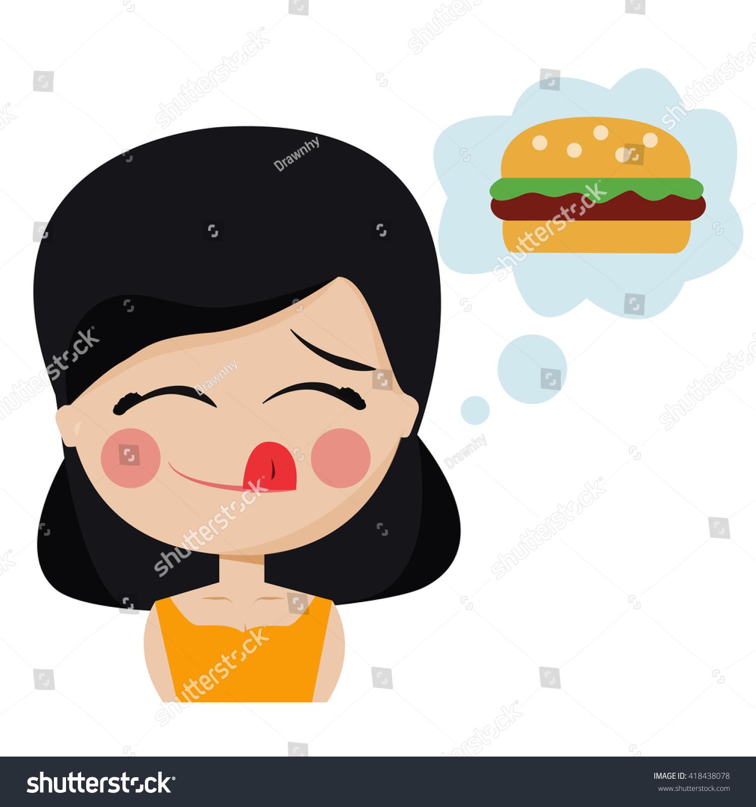 hight resolution of girl hungry wants hamburger