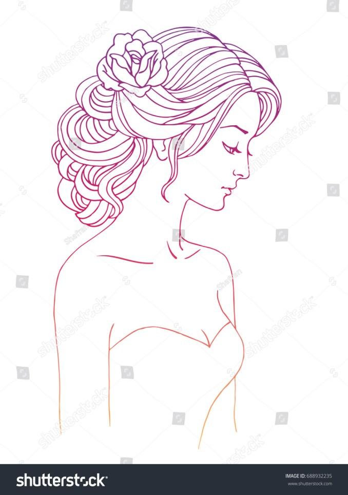 girl profile wedding hair style flowers stock-vektorgrafik