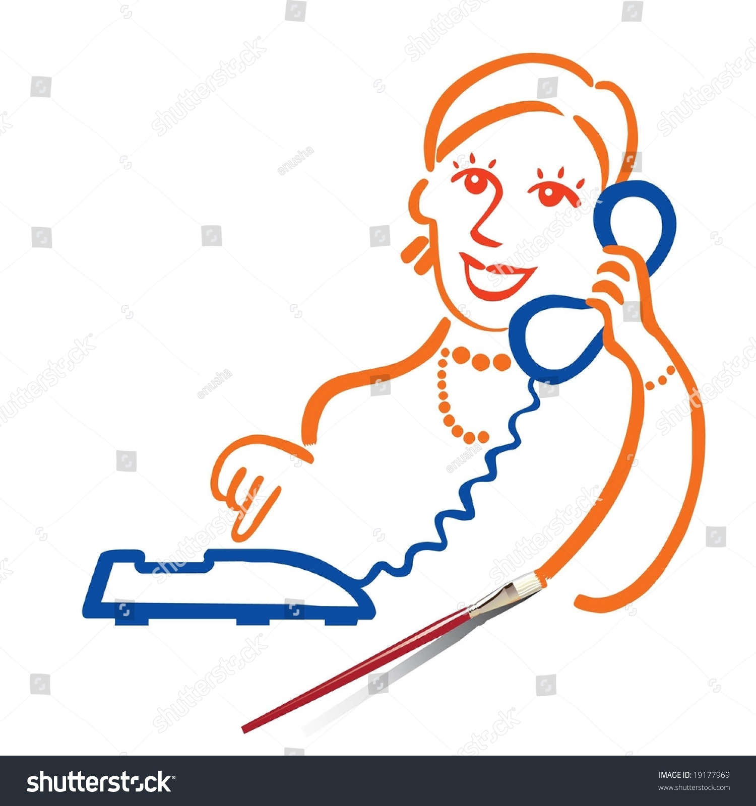 Girl On Phone. Draw Your Conversation. Stock Vector Illustration 19177969 : Shutterstock