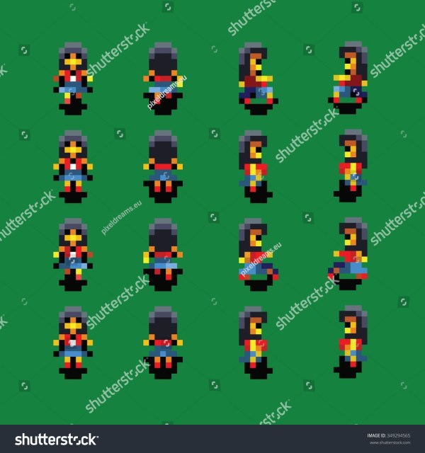 Girl Pixel Art Walk Animation Vector Stock 349294565 - Shutterstock