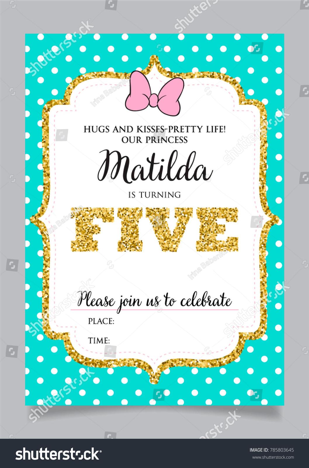 https www shutterstock com image vector girls fifth birthday invitation five years 785803645