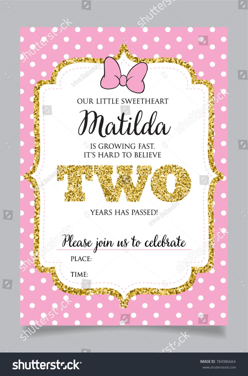 https www shutterstock com image vector girls second birthday invitation two years 784986664