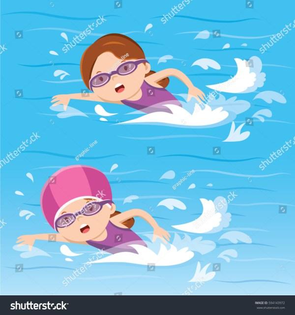 Girl Swimming Pool Stock Vector 594143972 - Shutterstock