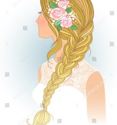 girl with tress wedding hair style with flowers from the back hand drawn vector [ 1125 x 1600 Pixel ]
