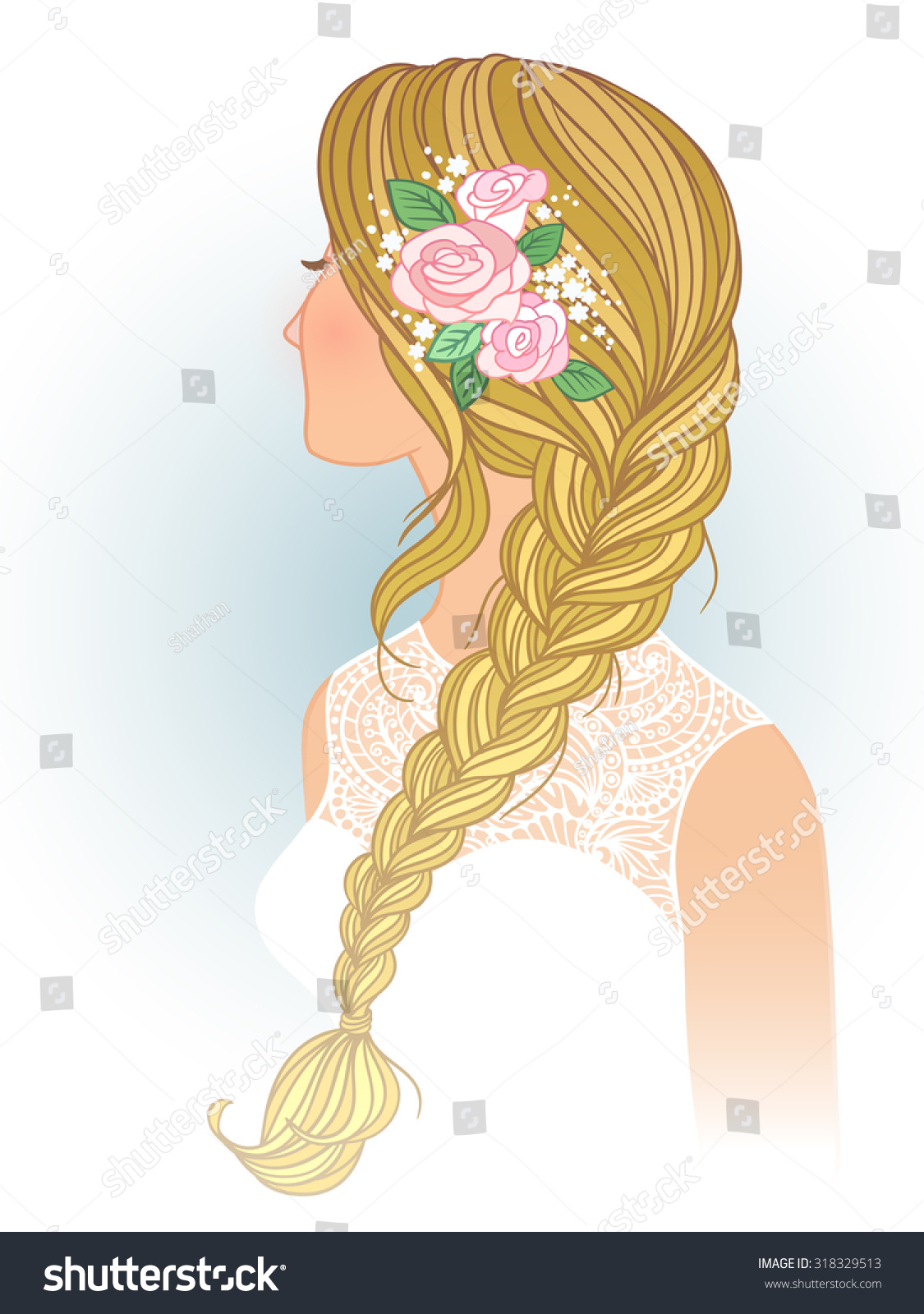 hight resolution of girl with tress wedding hair style with flowers from the back hand drawn vector