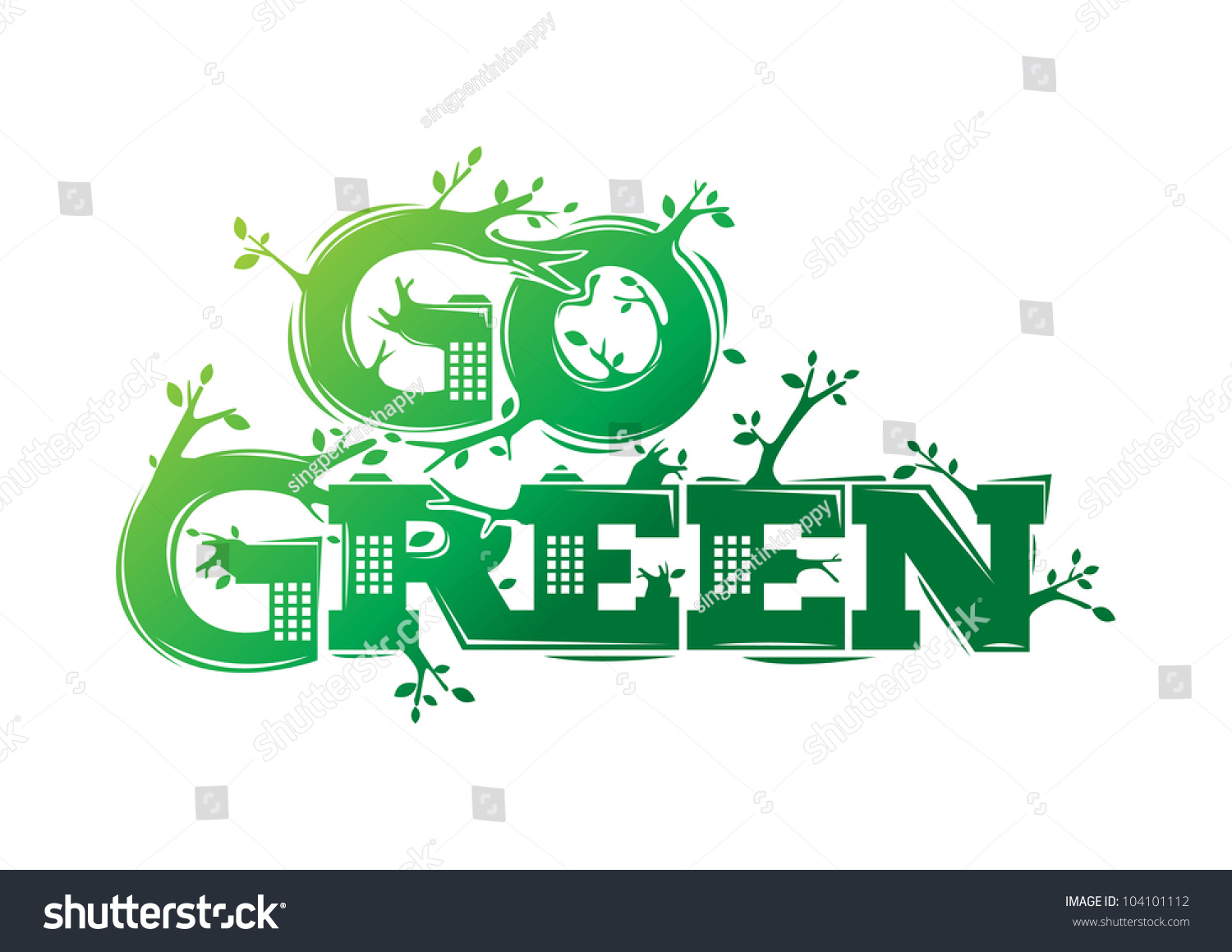 Go Green Campaign Poster Stock Vector Illustration 104101112 : Shutterstock