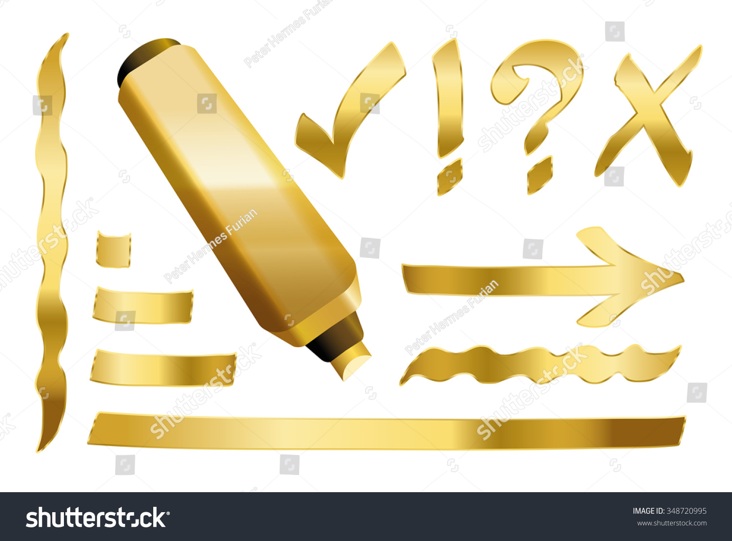 Gold Marker - Plus Some Gilded Signs Like Call Sign, Question Mark, Tick Mark, Arrow And Underlining. Vector Illustration Over White Background ...