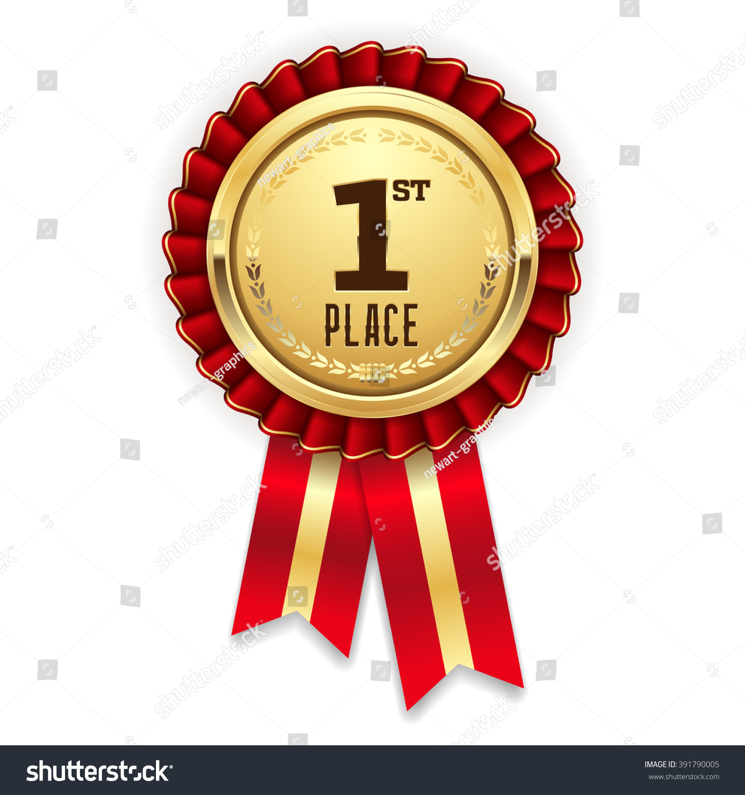 Gold 1st Place Rosette Badge With Red Ribbon On White