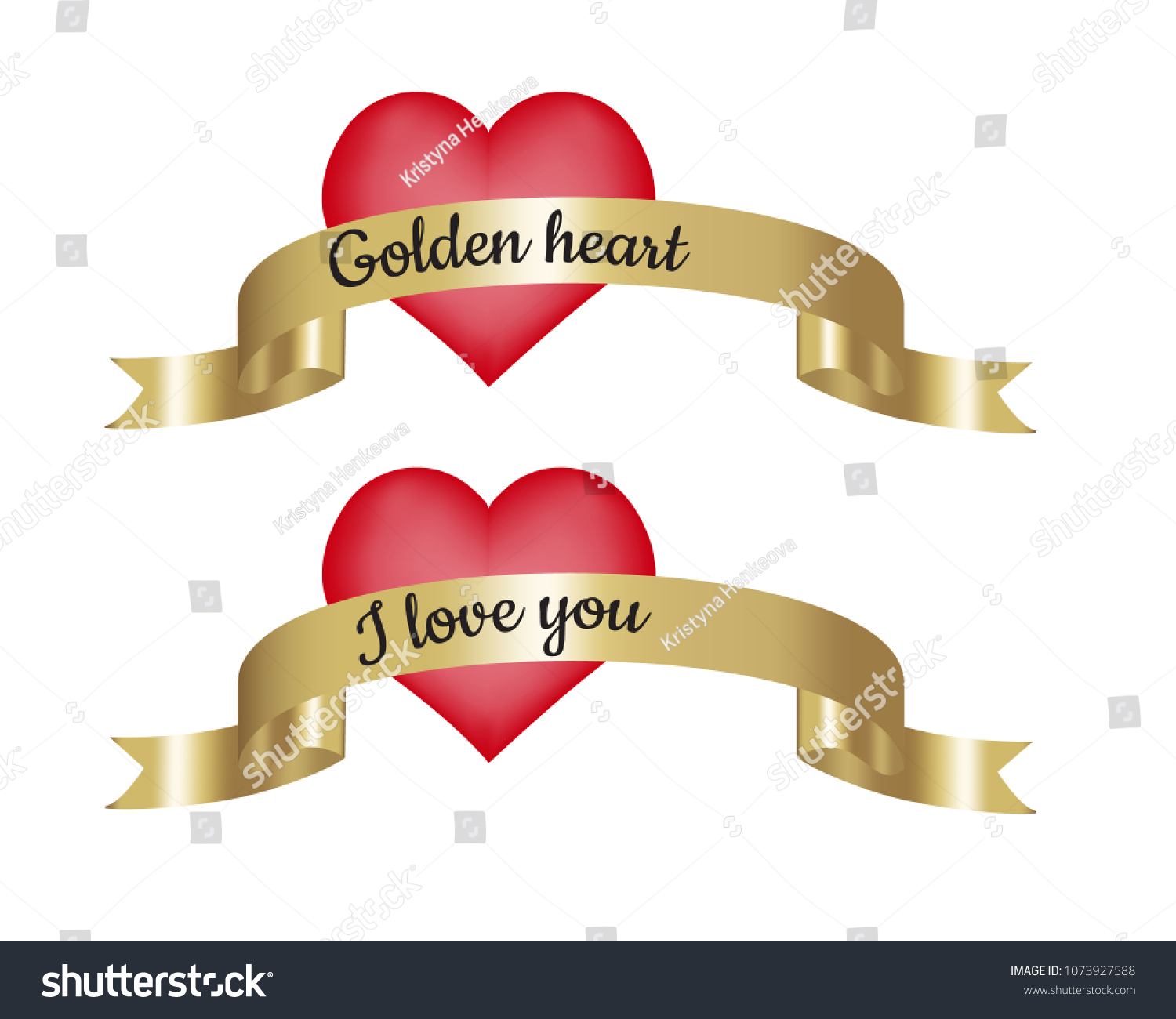 Love You Bilder Golden Heart Love You Text On Stock Vector (royalty Free) 1073927588