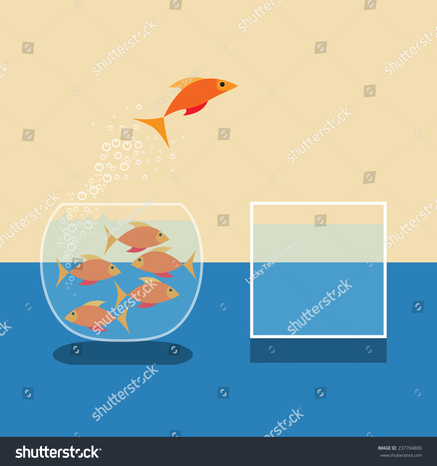 hight resolution of goldfish jumping out of water vector flat design