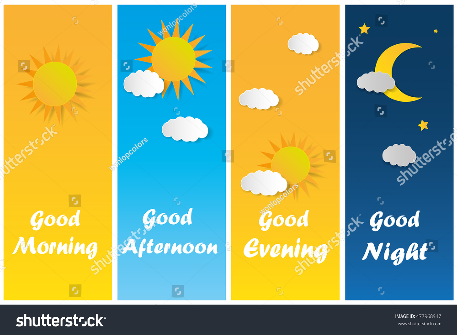 Good Morning Good Night Day Evening Stock Vector
