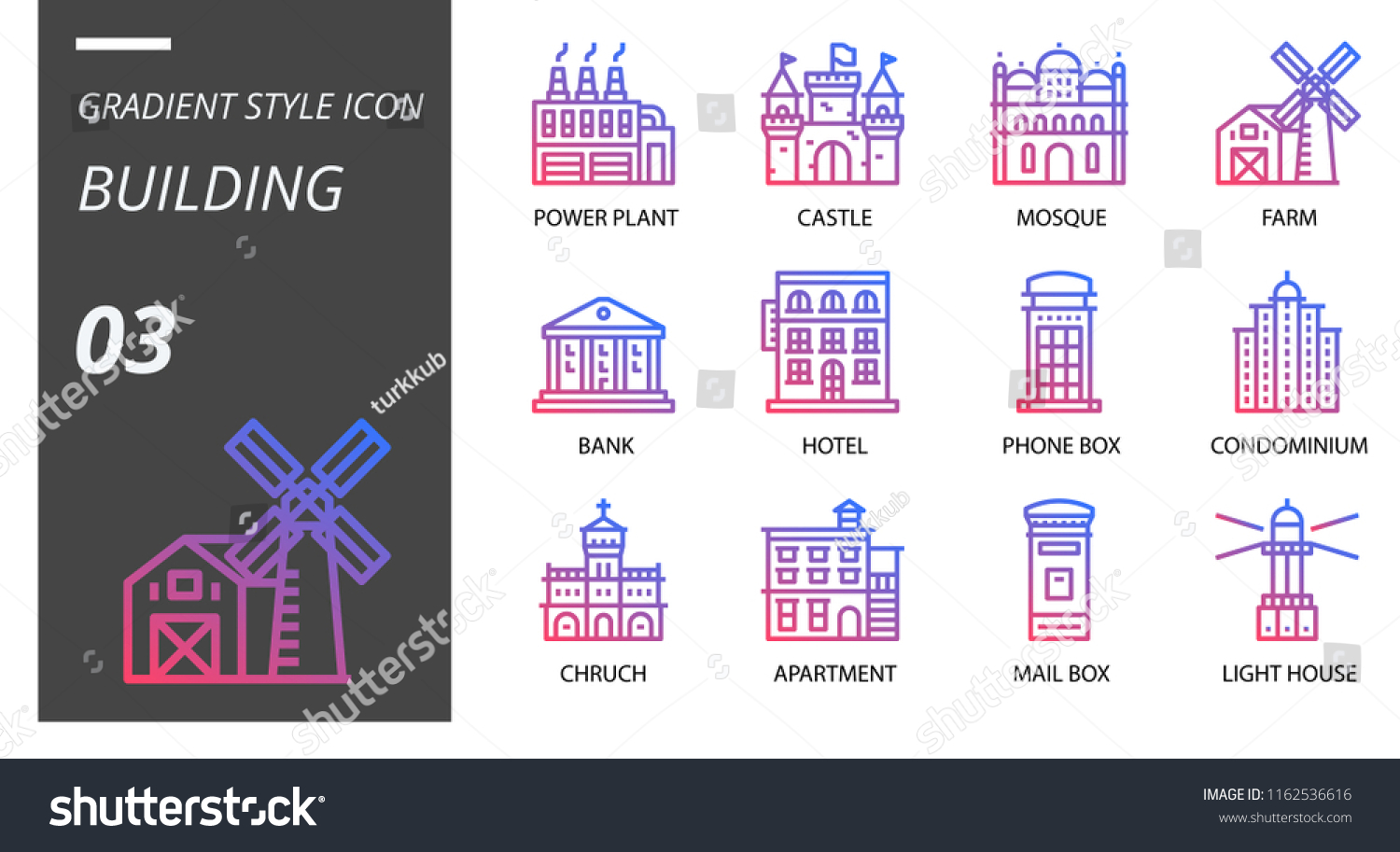 hight resolution of gradient style icon pack for building power plant castle mosque farm