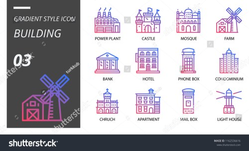 small resolution of gradient style icon pack for building power plant castle mosque farm