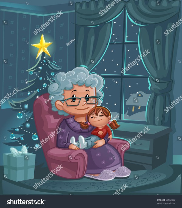 Grandma Granddaughter Christmas Stock Vector 66562057