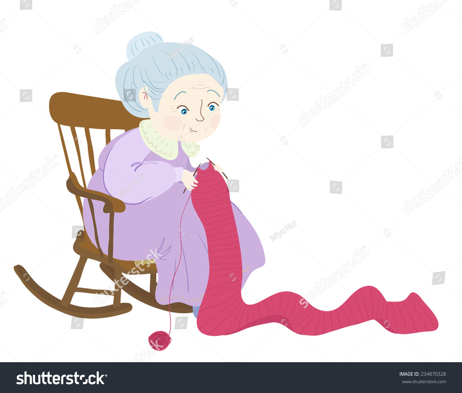old lady chair images of covers for wedding grandma knitting her rockingchair stock vector 234870328