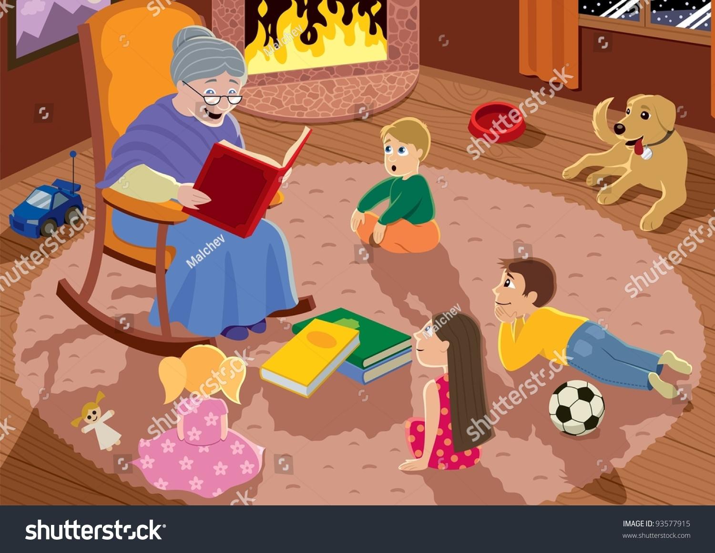 Granny Is Reading Fairy Tales To Her Grandchildren Stock Vector Illustration