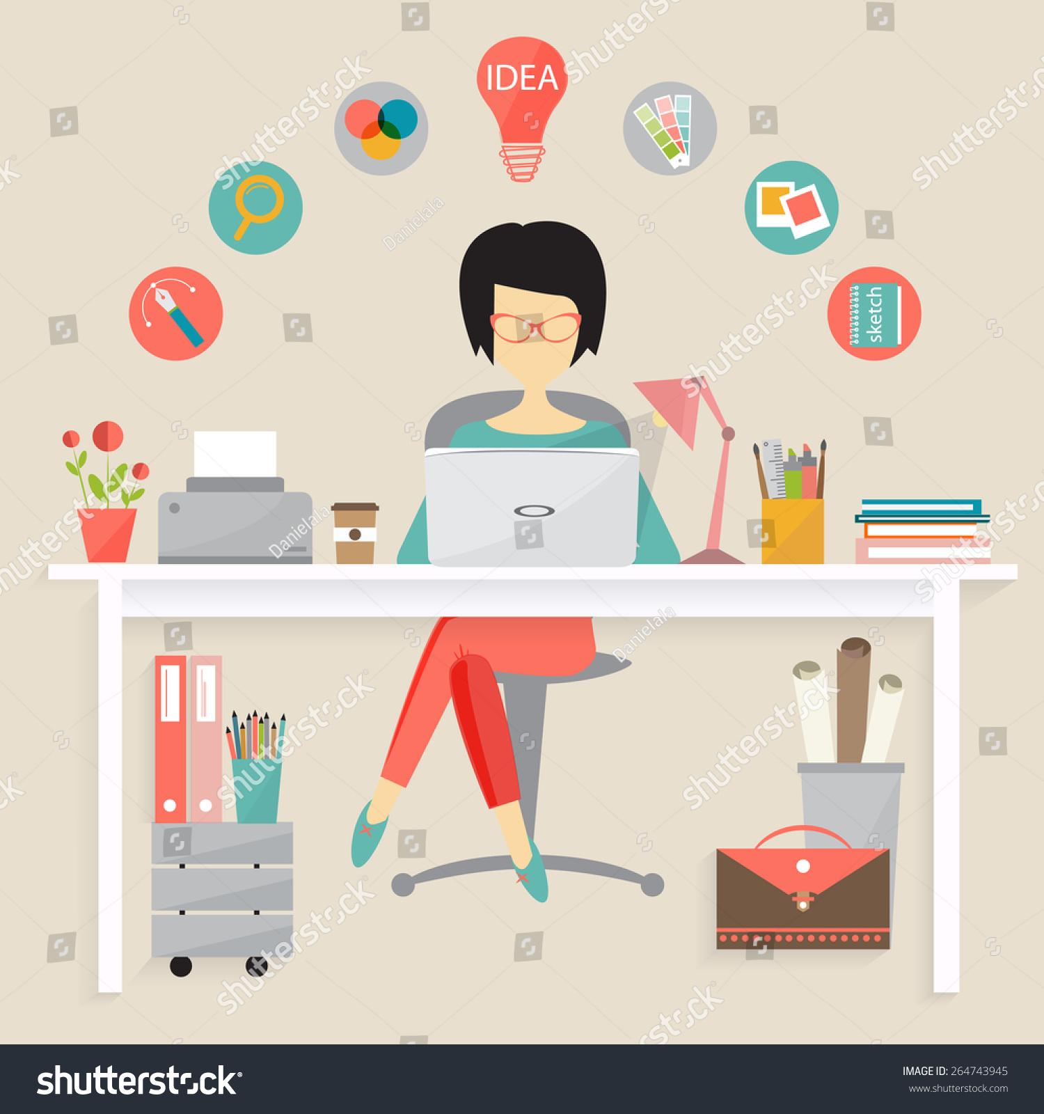 Graphic Designer Freelance Career Stock Vector 264743945