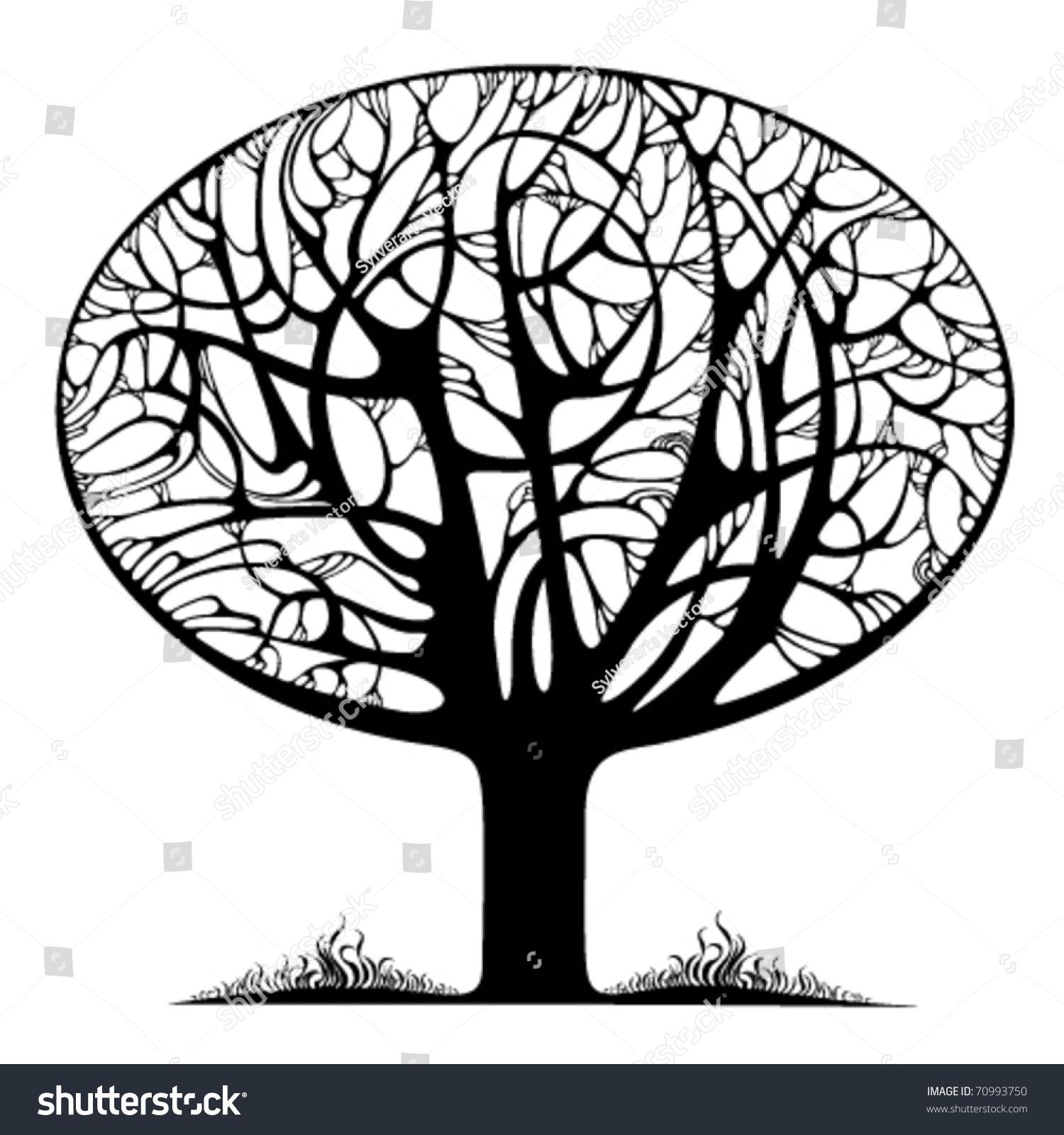 shrub graphic symbols diagram elk anatomy stylized tree icon curly branches stock vector