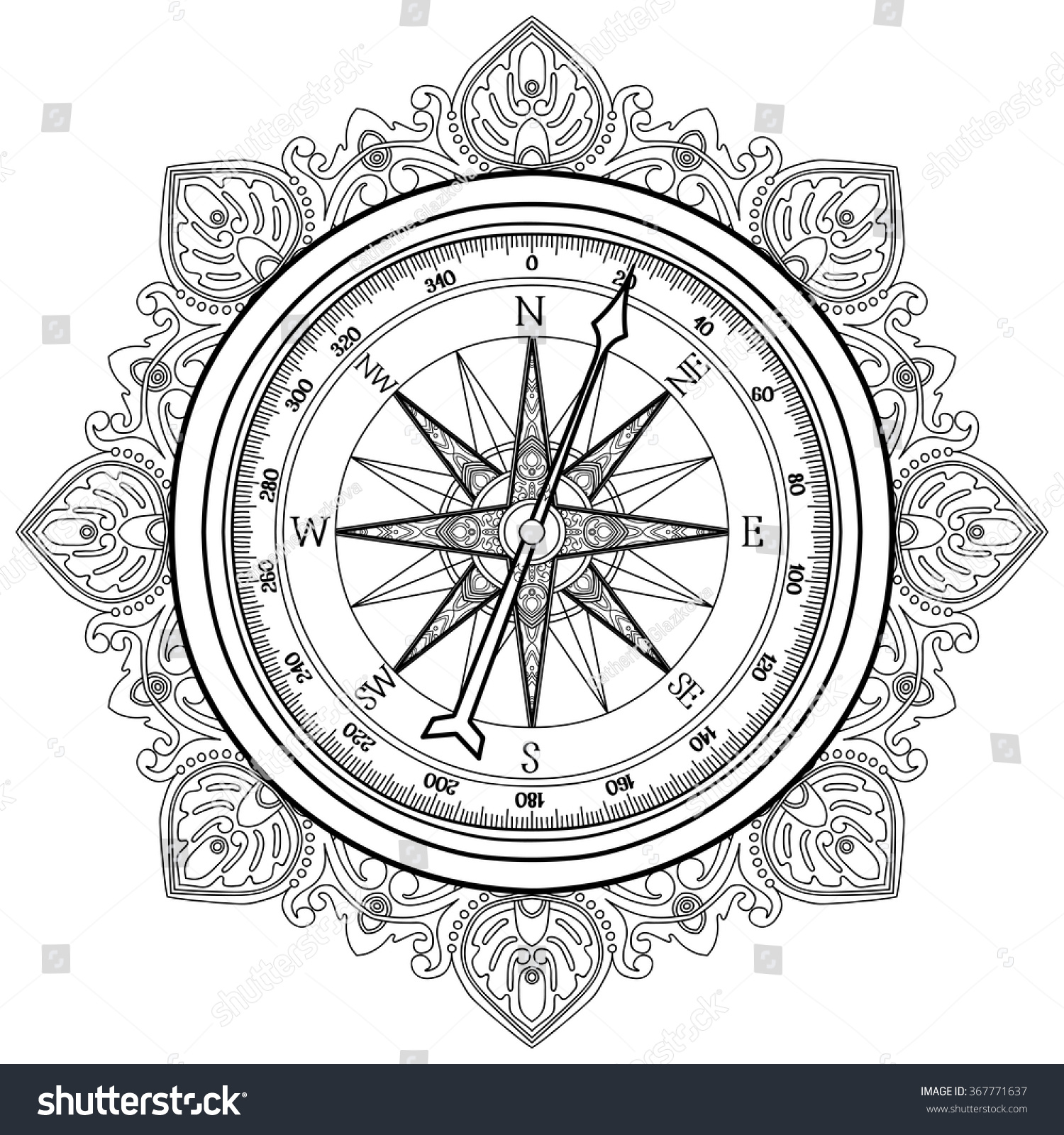 Graphic Wind Rose Compass Drawn In Line Art Style