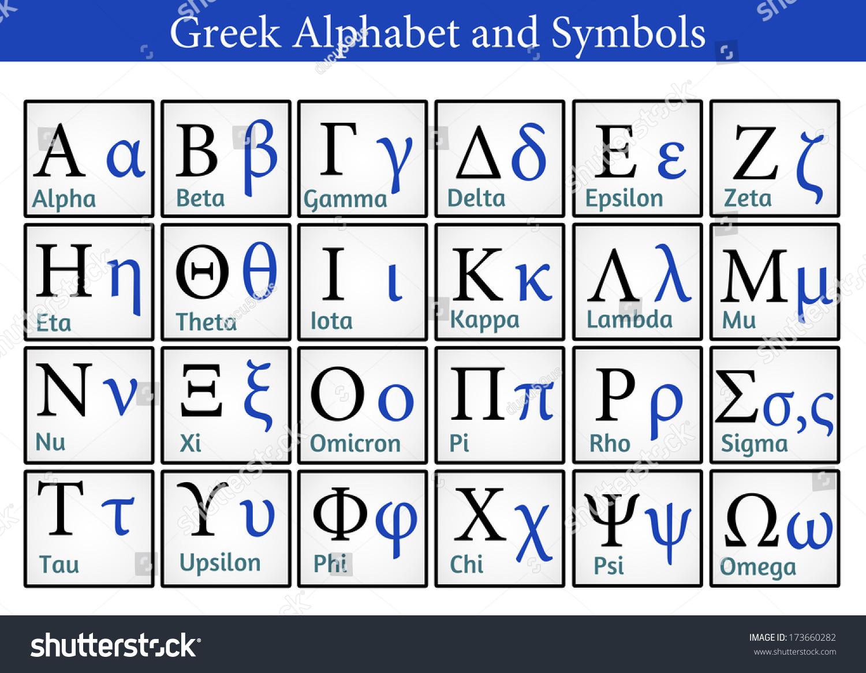 Greek Alphabet Symbols Helpful Education Schools Stock