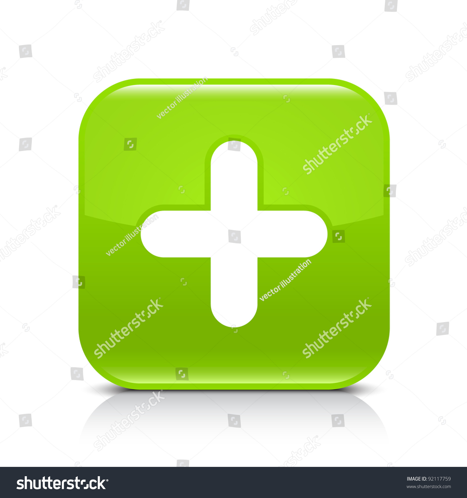 Green Glossy Web Button With Plus Sign Rounded Square