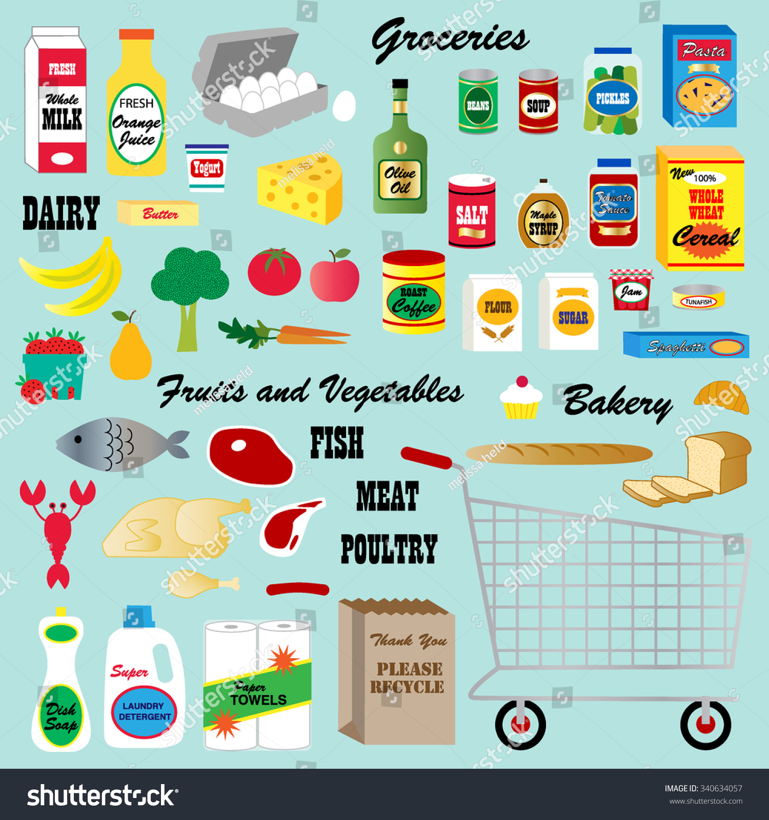 Grocery Store Clipart Stock Vector Royalty Free 340634057