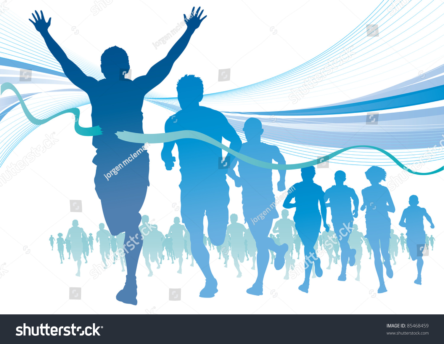 Group Marathon Runners On Abstract Blue Stock Vector