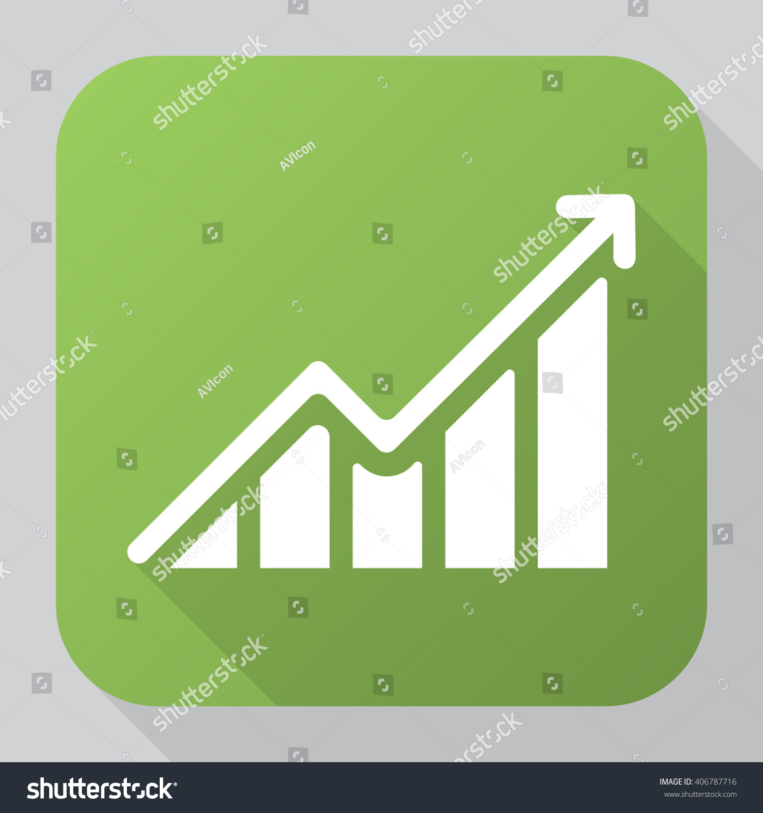 hight resolution of growing graph icon vector solid illustration pictogram isolated on gray long shadow