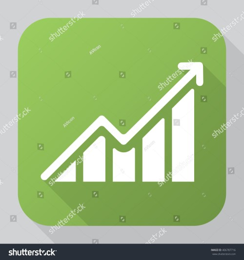 small resolution of growing graph icon vector solid illustration pictogram isolated on gray long shadow