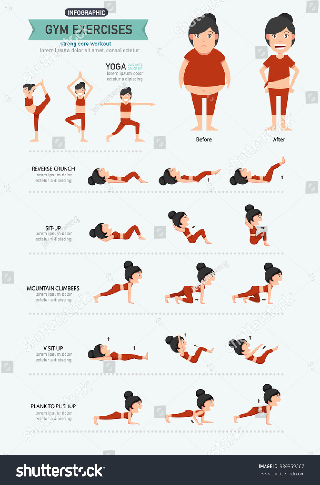 Gym Exercisesstrong Core Workout Illustration Vector Stock
