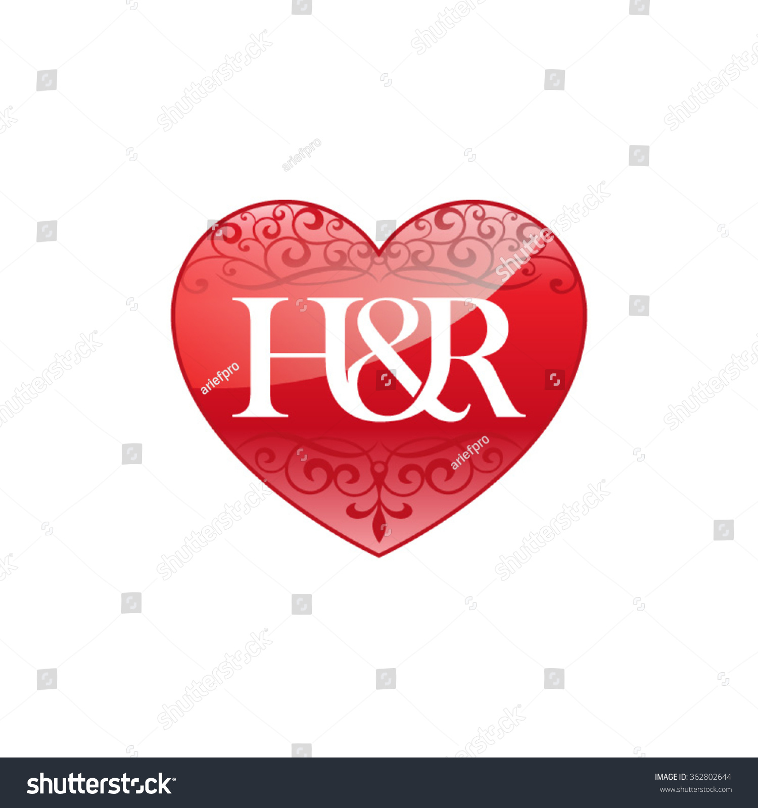 H&r Initial Letter Couple Logo With Ornament Heart Shape
