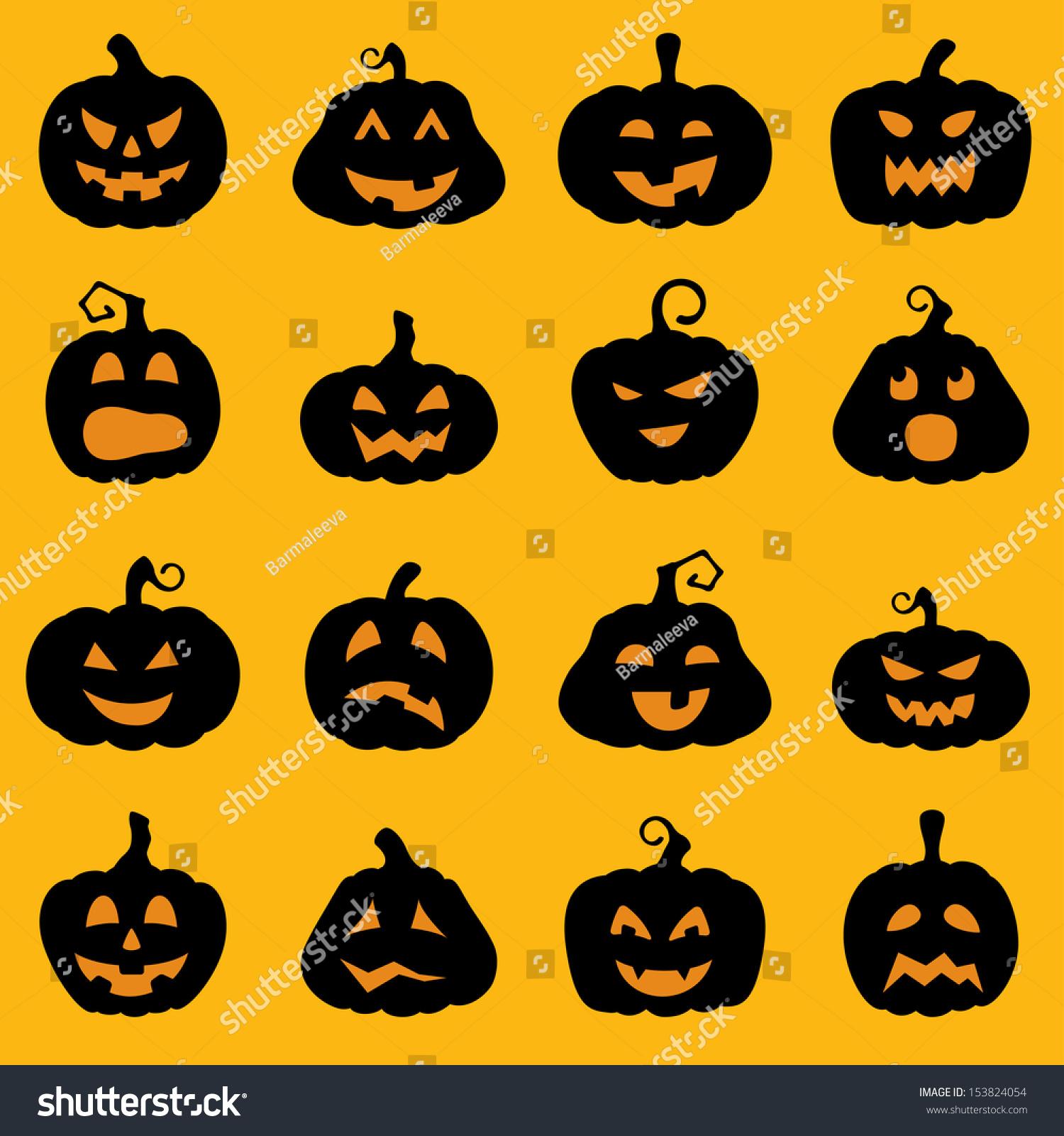 Halloween Decoration Jackolantern Silhouette Set Pumpkins