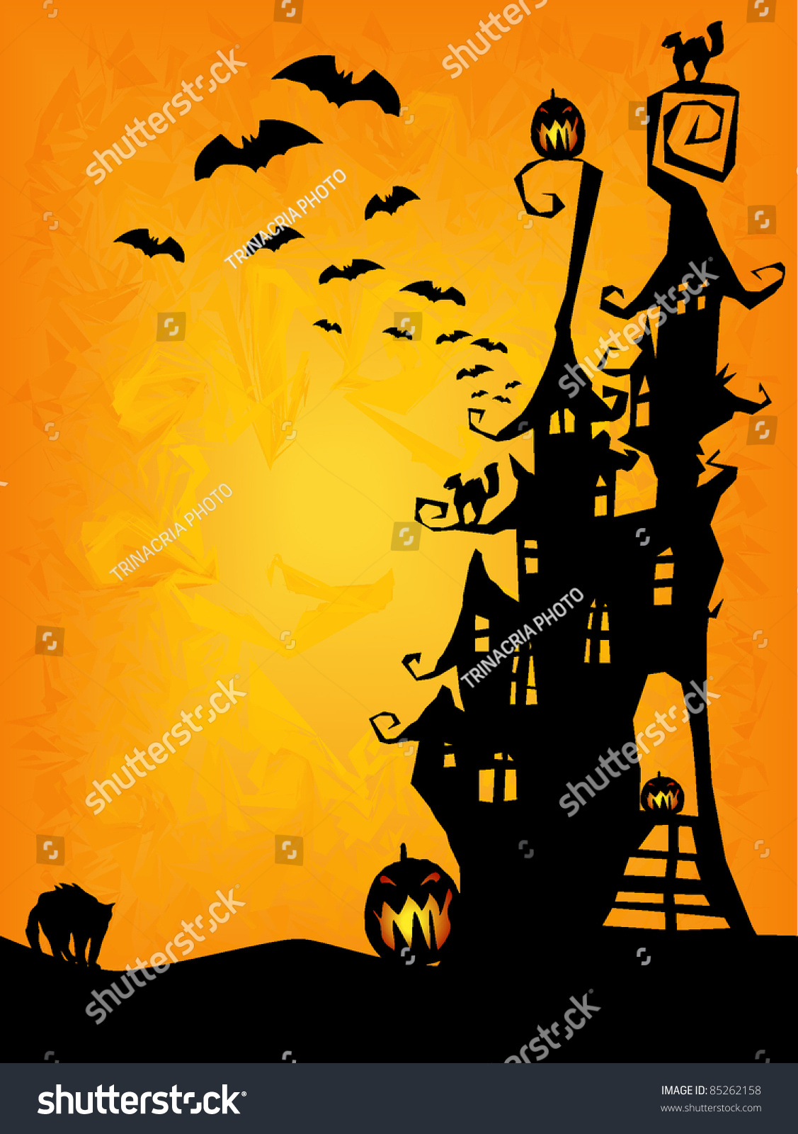 Halloween Invitation Flyer Background Spooky Castle Stock
