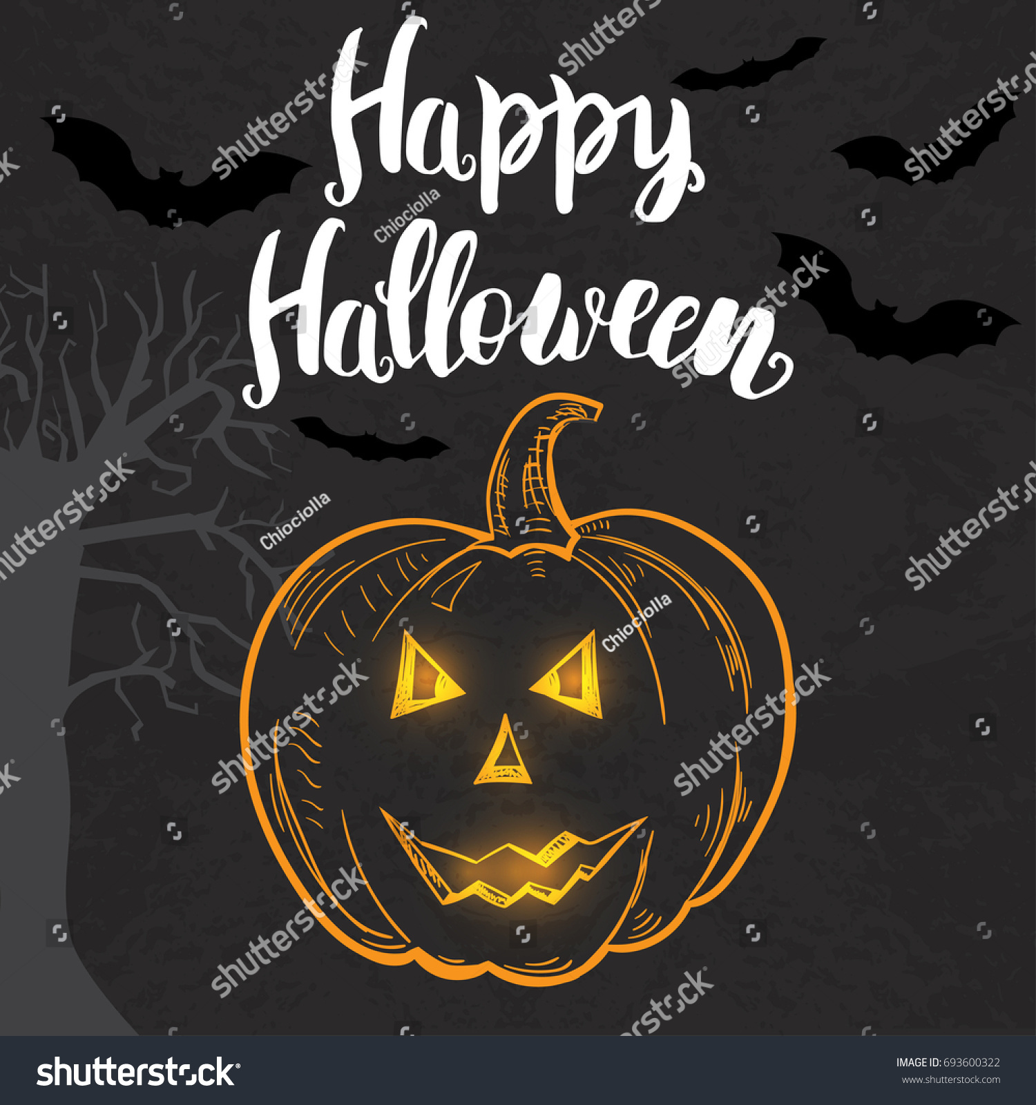 Halloween Template With Hand Drawn Pumpkin And Lettering On The Dark  Background