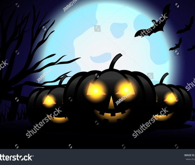 Halloween Vector Background Wallpaper Concept The Night With Pumpkin Dead Tree Bats And