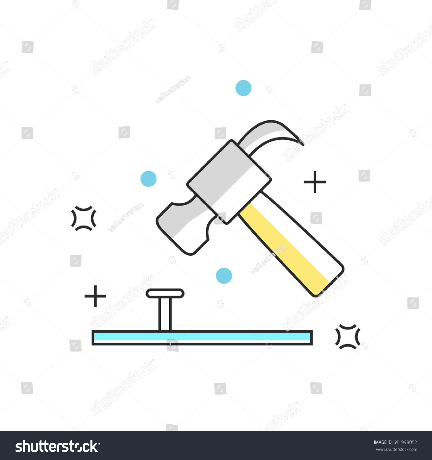 hight resolution of hammer and nail construction engineering architecture or interior design line icons vector illustration