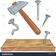 hammer nails plank wood carpenter