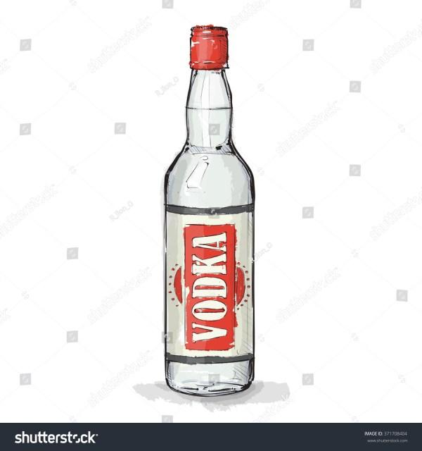 Hand Draw Vodka Bottle Vector Illustration Stock