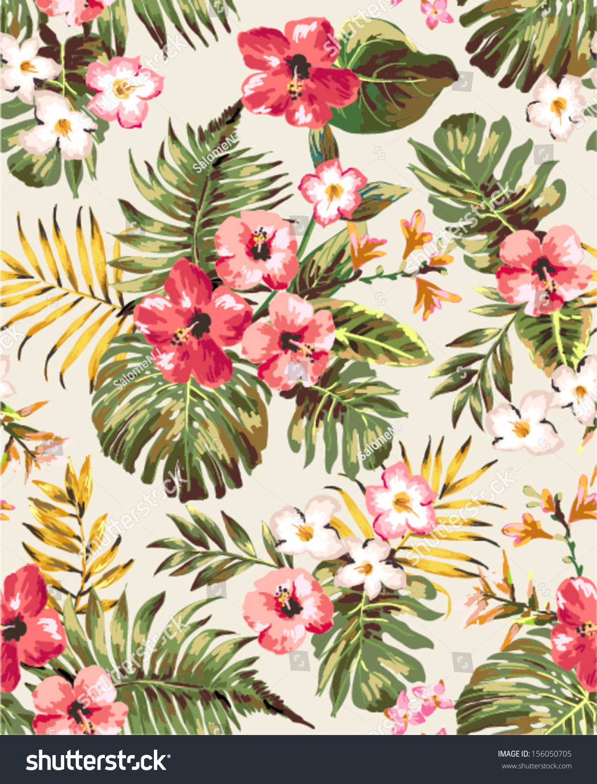 Hand Draw Tropical Flower,Blossom Cluster Seamless Pattern