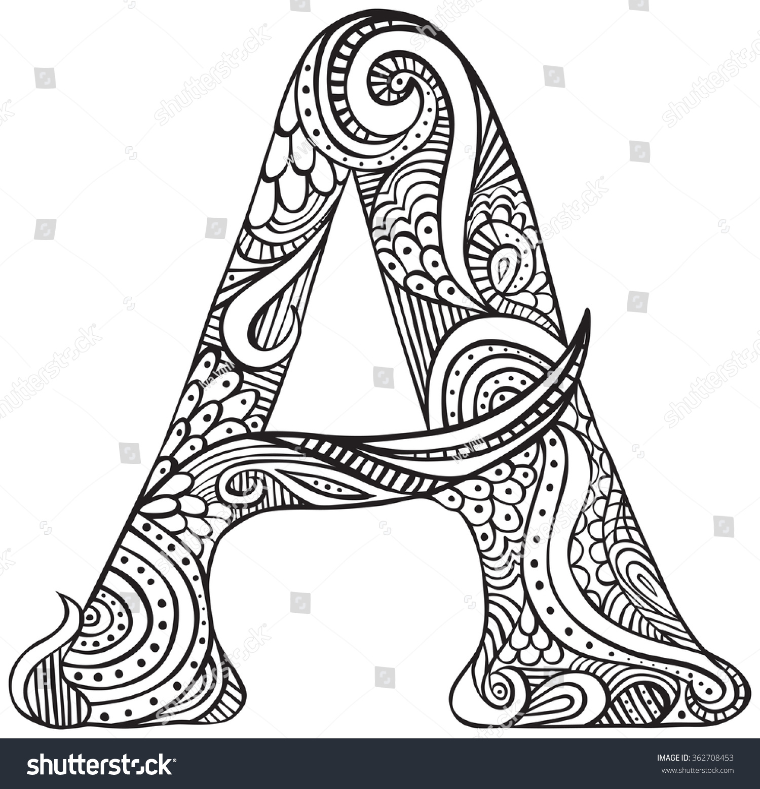 Hand Drawn Capital Letter Black Coloring Stock Vector 362708453